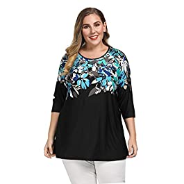 Chicwe Women's Plus Size Raglan Sleeves Floral Printed Top – Casual and Work Tunic