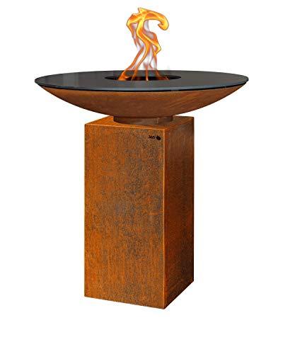 FeuerCampus365 PIO PLANCHA Feuerschale Ø 100 cm aus Cortenstahl mit Carbonstahl-Grillplatte auf Podest Höhe 80 cm aus Cortenstahl