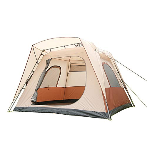 Camping Tent Large Scale Fully Automatic Tents 1 Second Speed Open 5-8 People Breathable Skylight Camping Tents,Coffee