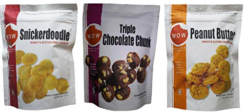 Wow Baking Moist, Chewy, Delicious Cookies | Certified Gluten Free | Simple All Natural Ingredients | 3 Pack Assortment (Snickerdoodle, Triple Chocolate & Peanut Butter)
