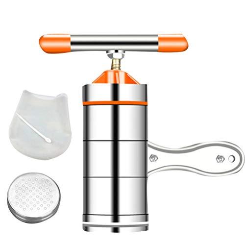 Hemoton Máquina de Prensado de Fideos Manual Máquina de Pasta de Acero Inoxidable Máquina de Fideos Domésticos para El Hogar con Molde Y Bolsa de Amasar Naranja