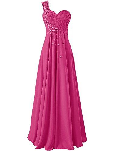 JAEDEN Abendkleider Ballkleider Lang Brautjungfernkleid Festkleider Partykleider EIN Schulter Hot Pink EUR44