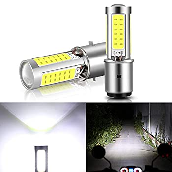 2-Pack BA20D H6 LED Headlight Motorcycle Bulbs 5 Sides with Lens Upgraded COB Chips High Low Beam Light Super Bright White Motorbike Headlamp 1000LM 6000K