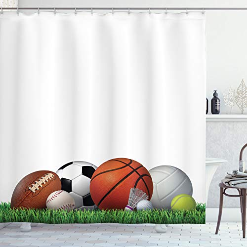Ambesonne Sports Shower Curtain, Sports Equipment on The...