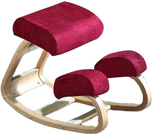 LIUBINGER Silla de Oficina Rodillas Silla ergonómica Ajustable Tensión Oficina reclinatorio Postura Spine Alivio Ortopédica Equilibrio Asiento Gruesas Rodillas Cojines (Color : Red)