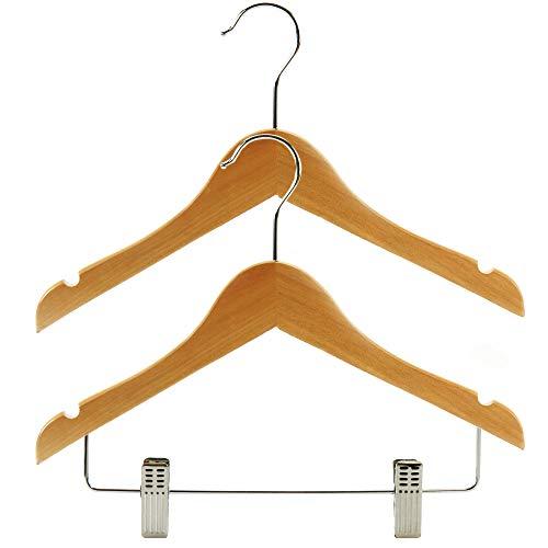Hangerworld 30 Perchas Niños 30cm 2 Modelos de Madera con y Sin Pinzas Pantalón Falda Vestido Abrigo