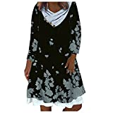 Dresses for Women Casual Button Fake Two Piece Pile Collar Flower Print Dress Fall Loose Long Sleeve Bodycon Dresses (04 Black, XL)