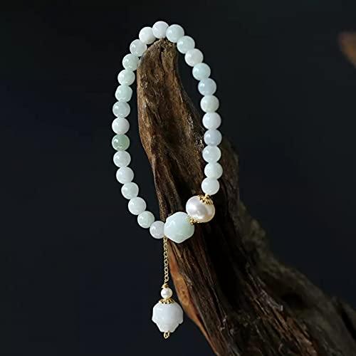 QiuYueShangMao Perlas de Agua Dulce Naturales étnicas Colgante de Loto Pulsera de Cuentas de Jade Pulseras de Hilo llenas de Color Dorado Joyería Fina para Mujer Joyería de la Amistad