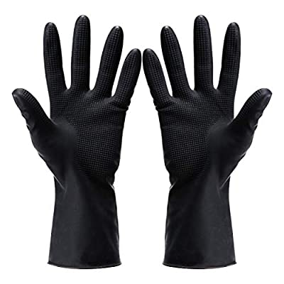 Hair Dye Gloves,Professional Hair Coloring Accessories for Hair Salon Hair Dyeing,Acid and alkali resistant gloves black latex gloves,2pcs?1 left+1 right?,black