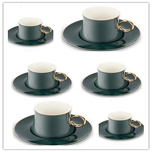 Gold Kaffeetasse Set Hotel Cafe Becher Keramik Tasse Teller Löffel grün 6 Tassen 6 Geschirr 6 Löffel 220ml
