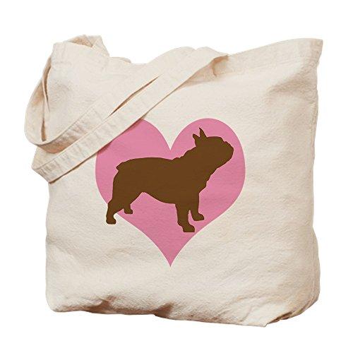 CafePress French Bulldog & Heart Natural Canvas Tote Bag, Reusable Shopping Bag