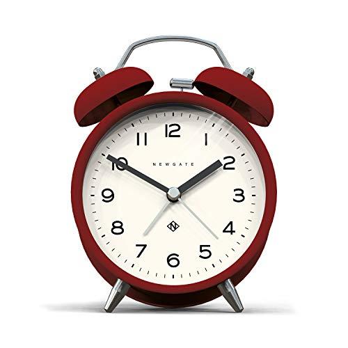 NEWGATE, Reloj silencioso - Moderna Caja de Color Metal con Martillo clásico y Alarma de Doble Campana HWD 14,5 x 9,7 x 5,5 cm (Rojo)