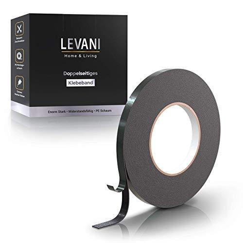 Levani Doppelseitiges Klebeband Extra Stark [10M] - Verbesserte Version - Klebeband Doppelseitig Stark aus standfestem Montageschaum - Spiegelklebeband inkl. Praktischer Montageband Aufbewahrungsbox