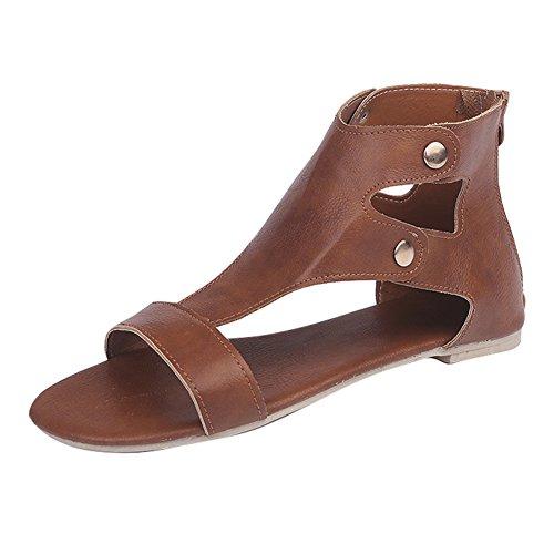 Juleya Frauen Sandalen Sommer Schuhe - Damen Peep Toe Sandaletten Strandschuhe Gladiator Sandalen Römersandalen Reißverschluss Damenschuhe Riemchensandalen Rotbraun 42