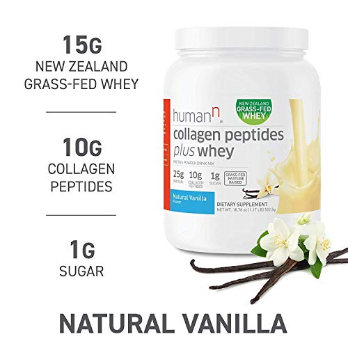 HumanN Collagen Peptides Plus Whey | Low-Carb, Grass-Fed, Pasture-Raised, 10 Grams of Collagen Peptides Plus 15 Grams of Whey Protein, Gluten Free, Soy Free, Non-GMO, Type I and III (Vanilla)