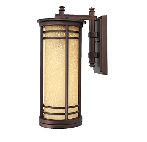 Buitenwandlamp, waterdicht, roestvrij, ZS, wandlampen, voor buiten, klassieke stijl, traditionele stijl, tuinwandlamp met lampenkap van glas, waterdicht