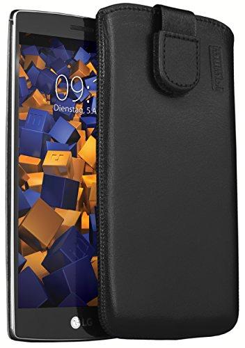 mumbi Echt Ledertasche kompatibel mit LG G4s Hülle Leder Tasche Case Wallet, schwarz