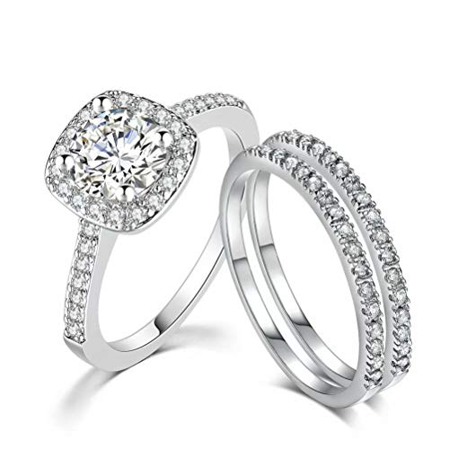 TIVANI Women's 3PCS Pretty 18K Gold Plated Princess Cut CZ Bridal Engagement Wedding Ring Sets Best Love Promise Rings for Her Jewelry Heart Arrow Eternity Rings Silver 8
