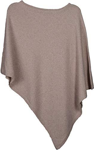 styleBREAKER Damen Feinstrick Poncho in Unifarben, leicht asymmetrischer Schnitt, Ärmellos, Rundhals 08010042, Farbe:Beige