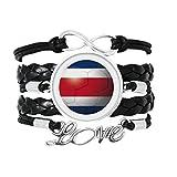 国旗のサッカーワールドカップコスタリカ 愛のアクセサリーツイストレザーニットロープリストバンド編み