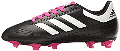 adidas Performance Kids' Goletto VI J Firm Ground Soccer Cleats, Black/White/Shock Pink, 1.5 Medium US Little Kid
