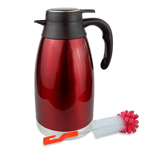 68oz Thermal Coffee carafe for keeping hot and cold-12 Hours Heat Retention/ Stainless Steel Double Vacuum Flask thermos and Hot Beverage Dispenser by Zomsta , Red