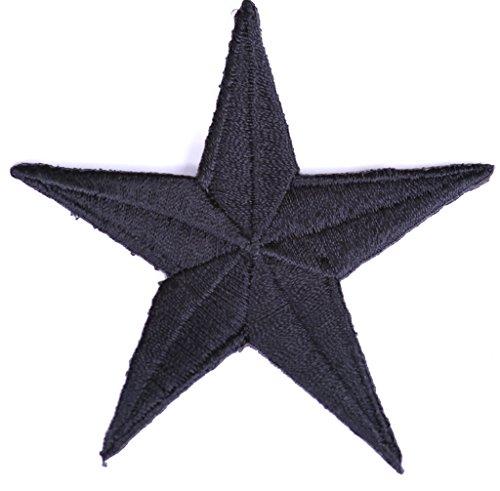 Iron on Bügel-Sterne Bügel-Aufnäher Bügel-Patches für Jacken Cap Hosen Jeans Kleidung Damen Stoff Kleider Bügel-Bilder Applikation Sticker-Ei Aufbügler zum aufbügeln schwarz 7 – 7,5 cm