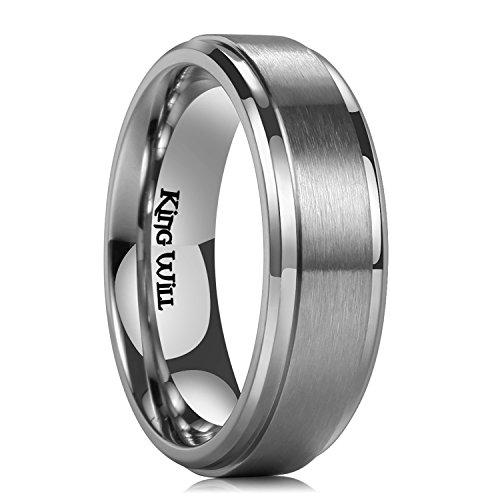 King Will Basic 7mm Mens Titanium Wedding Ring Brushed Finished Wedding Band Comfort Fit Stepped Edge9
