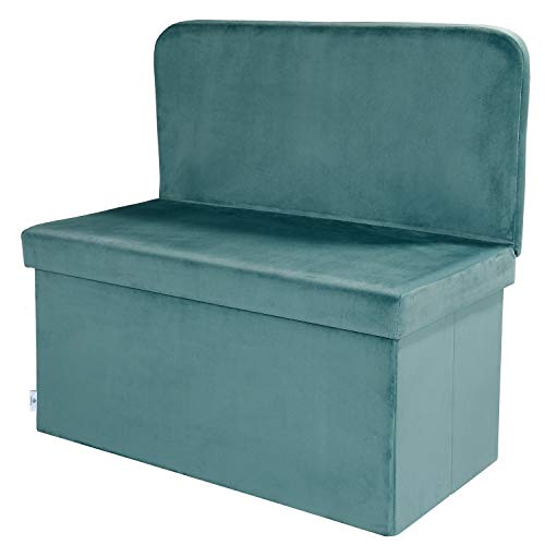 B FSOBEIIALEO Velvet Storage Ottoman with Seat Back Footstool Shoes Bench Folding Chair Room Organizer Cube Box Teal Large