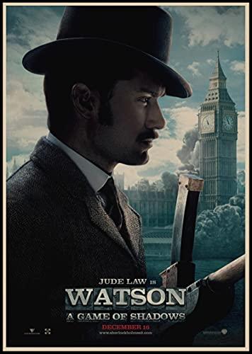Weibing Sherlock Holmes Posters Película Lienzo Pintura Bar Cafe Shop Hogar Dormitorio Decoración y colección de Ventiladores 50X70 Cm (19.68X27.55 in) Q-988