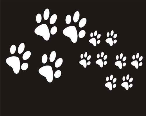 12 adesivi Con zampe di cane e gatto, per auto, finestra, specchio