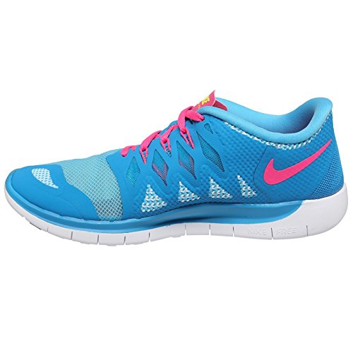 Nike Free 5.0, Running Entrainement Garçon - Bleu (Lyn Blue/Mtllc SLVR-BL LGN-blk), 39 EU