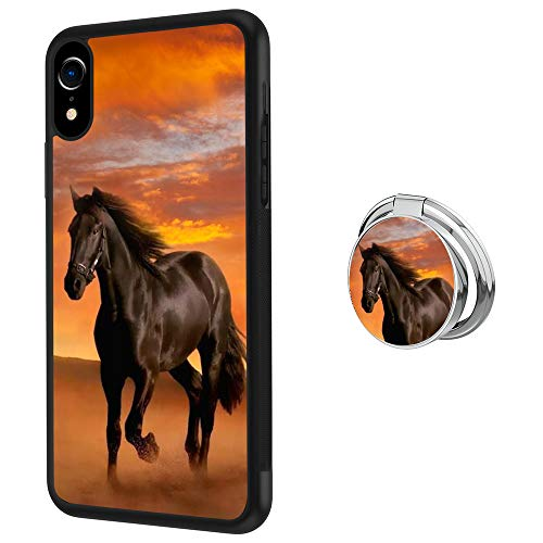 iPhone Xr Case with Holder Ring Horse Soft Black TPU Rubber and PC Anti-Slip Grip Cover Case, Shockproof Defend Protective Phone Case for iPhone Xr