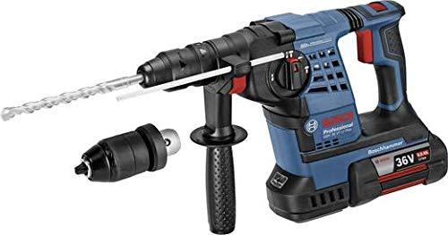Bosch Professional Akku Bohrhammer GBH 36 V-LI SDS-Plus (inkl. Zusatzhandgriff, Tiefenanschlag,  1/1 L-BOXX-Einlage für Gerät und Ladegerät, Schnelllader, 2x GBA 36V 6.0 Ah Akku, in L-BOXX)