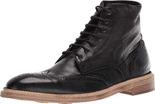 Gordon Rush Men's Lace-Up Boot Max. High End Made in Italy Leather Boot with Premium Italian Calfskin Upper, Leather Lining and Welt, and a Double Stacked Leather/Rubber Sole. (Black, 9)