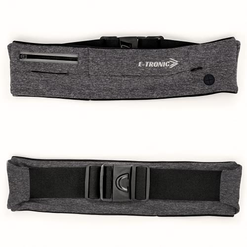 E Tronic Edge Running Belt for Women & Men - Money Belt and Running Fanny Pack, Holder for Cell Phone, Money, and Keys - Pouch fits Most Phone and Waist Sizes, Gray