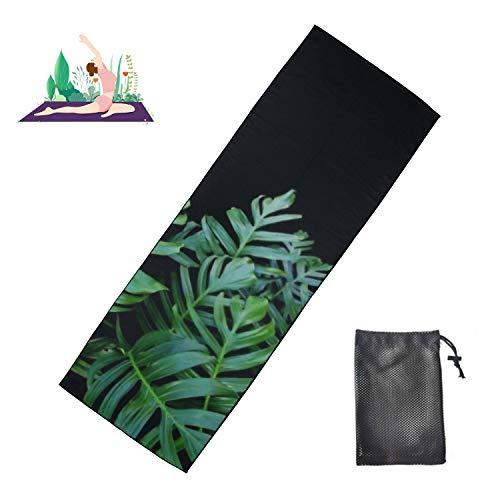 DAIDYA Toalla de Yoga 24'X 73', Hojas Verdes Planta de Monstera en Crecimiento Tela de Hormiga Salvaje Antideslizante Estera de Yoga Caliente Toalla Toalla de Yoga Grande Ultra Suave y Absorbente
