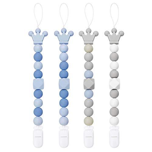 Yoofoss Chupetero para Bebé con Libre de BPA Bola Silicona, Universal Chupete Clip Cadena para Niño Muchachas Infantil (Azul Gris)