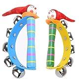 TOYANDONA 2 Stücke Kinder Handglocke Clown Form Baby Schellenkranz Holz Musikinstrumente Rasseln Glockenkranz Percussion Rhythmus Instrumente Weihnachten Geschenke Mitgebsel Spielzeug - Zufällig