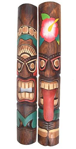 Interlifestyle 2 Tiki Masken 100cm im Hawaii Style Motivmasken Wandmasken Holzmaske Maske Osterinsel