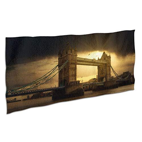 NANITHG Toalla de Playa,Fotografía de Paisaje de Londres,Inglaterra,Puente de Londres,Cielo Oscuro,Puesta de Sol,Lago,Deportes Toalla Secado Rápido,Grande y Liviana de Viaje para Gimnasio 37x74in