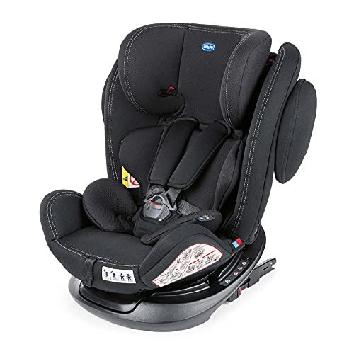 Chicco Unico Plus Siège Auto Bébé ISOFIX Inclinable 0-36 kg, Groupe 0+ 1 2 3 pour Enfants de 0 à 12 ans, Facile à Installer, Appui-Tête Réglable, Protection Latérale et Réducteur pour Bébé - Noir