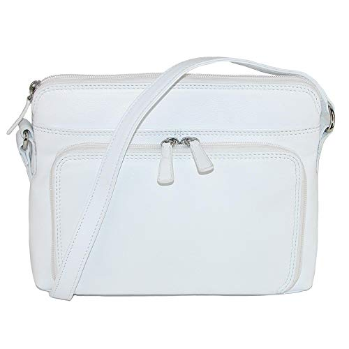 CTM Women's Leather Shoulder Bag Purse with Side Organizer, White