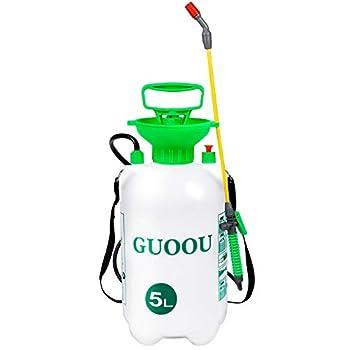 GUOOU 1.3 Gallon Pump Sprayer Backpack Sprayer with Pump Garden Pump Sprayers Lawn Pressure Water Sprayer with Adjustable Shoulder Strap Pressure Relief Valve