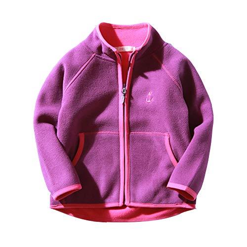 Kinder Junge Mädchen Softshell Jacke Reißverschluss Fleecejacke Casual Leichtgewicht Mantel Lila 6-7/130 - Höhengeeignet:122CM