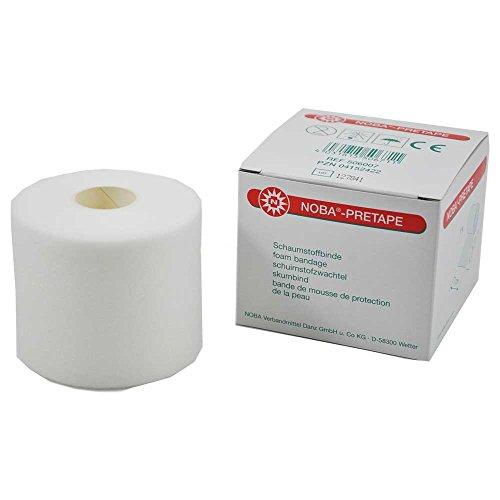 1 Rolle NOBA®-Pretape Schaumstoffbinde Fixierbinde Binde Untertape, weiß, 27,5 mx7cm