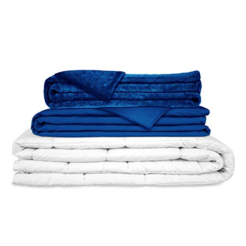 GRAVITY Manta con Peso, Manta Pesada terapéutica Set Azul Incl. 2 Fundas - Funda de Verano tierno y estándar para Adultos/Adolescentes para un Mejor sueño, tamaño:...