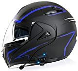 Casco Moto Modular Bluetooth ECE Homologado, Casco De Moto Integral Scooter Para Mujer Hombre Bicicleta Con Doble Visera-Negro Mate Helmets 6,L=59-60