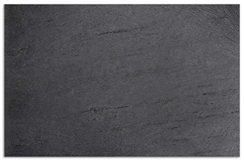 Wallario Herdabdeckplatte/Spritzschutz aus Glas, 1-teilig, 80x52cm, für Ceran- und Induktionsherde, Motiv Schwarze Schiefertafel Optik – Steintafel