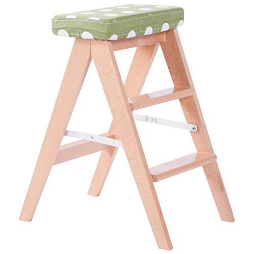GUOXY Multifunktions-Simple Brown Klapphocker 3 Schritt Hocker Tragbare Umzug Stühle Mehrzweckküchen Hohe Hocker Und Bank Schritte Auf Beiden Seiten Mit Sitzbezug Waschbar,Wellen-Punkt-Grün